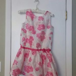 Girls dressed up sleeveless pink, white dress sz8